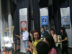 LibreBus crew on stage in San Pedro de Jujuy